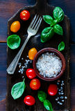Cutting board and ingredients Royalty Free Stock Images