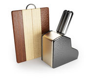 Cutting board and kitchen knifes Royalty Free Stock Photo