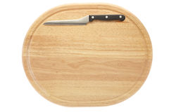 Cutting board and knife. Isolated on white, clipping path included Stock Image