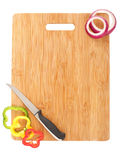 Cutting Board, Knife And Veggies Royalty Free Stock Images