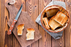 Cutting board with a knife and a basket of toast Royalty Free Stock Photography