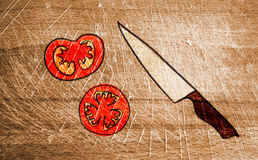 Cutting-board-with-knife-and-tomato. Background with cutting-board-with-knife-and-tomato Royalty Free Stock Photo