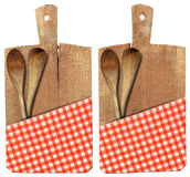 Cutting Board with Ladles and Tablecloth Royalty Free Stock Photography