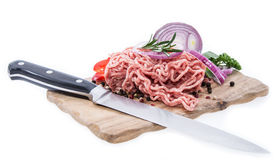 Cutting board with Minced Meat Royalty Free Stock Photography