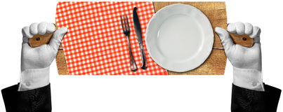 Cutting Board with Plate and Cutlery. Hands of waiter with white gloves holding a cutting board with checkered tablecloth, empty white plate and silver cutlery Stock Photography