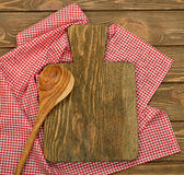 Cutting board and red napkin Stock Photo