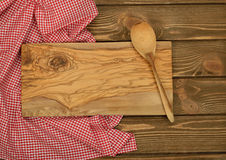 Cutting board and red napkin Royalty Free Stock Image