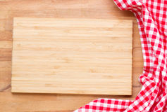 Cutting board and  red napkin Royalty Free Stock Photo