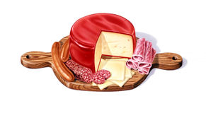 Cutting board with a selection of cheeses, salami Stock Photos