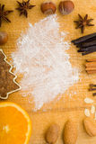 Cutting board with spices and flour Royalty Free Stock Image