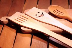 Cutting board. With spoon and frok Royalty Free Stock Photos