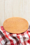 Cutting board with tablecloth Stock Image