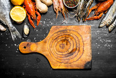 Cutting Board with a variety of shrimp, fish and shellfish. Stock Photography