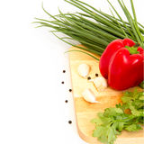 Cutting board and vegetable Stock Photo
