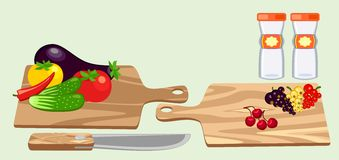 Cutting board and vegetables Royalty Free Stock Images