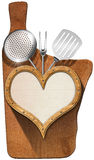 Cutting Board - Wooden Heart Royalty Free Stock Image