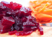 Cutting of boiled beets Royalty Free Stock Photo