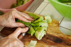 Cutting bok choy Royalty Free Stock Photo