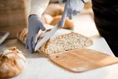 Cutting a bread in the store. Cutting fresh bread for selling in the store with bakery products Stock Images