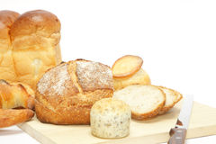 Cutting bread Royalty Free Stock Photography