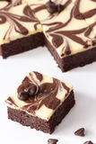 Cutting of Brownie Cheesecake Royalty Free Stock Photography