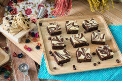 Cutting of Brownie Cheesecake Royalty Free Stock Photos