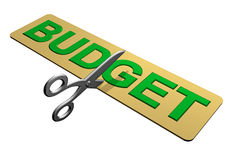 Cutting the Budget. A pair of scissors cutting through a budget Royalty Free Stock Photography