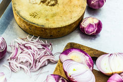 Cutting bulb onion Stock Images