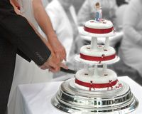 Cutting the Cake. Bride and Groom cutting the Wedding Cake Stock Photography