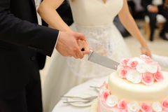 Cutting Cake with Roses Royalty Free Stock Photography