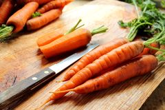Cutting carrots Stock Photography