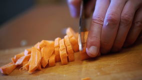 Cutting Carrots into Slices on Chopping Board in Home Kitchen. Slow Motion stock video footage