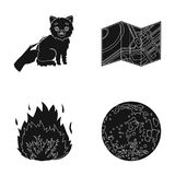 Cutting a cat, Terrain plan and other web icon in black style. fire, planet icons in set collection. Cutting a cat, Terrain plan and other  icon in black style Royalty Free Stock Photos