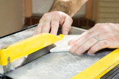 Cutting Ceramic Tile Closeup Royalty Free Stock Photo