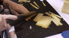 Cutting cheese stock video