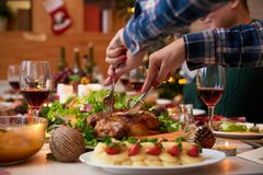 Cutting chicken at dinner stock photography