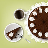Cutting chocolate cake. Vector cutting chocolate cake with icing, whipped cream, cup of coffee, spoon, plate, white lace napkin top view  on pistachio background Royalty Free Stock Photography