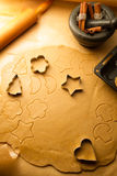 Cutting Christmas cookies Royalty Free Stock Photography