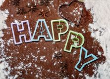 Cutting christmas gingerbread cookies Royalty Free Stock Photography