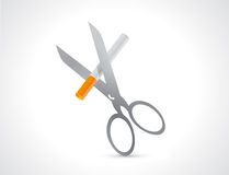 Cutting a cigarette with scissors illustration Stock Photo