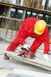 Cutting construction wood board Royalty Free Stock Photo