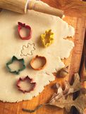 Cutting cookies dough homemade for Halloween and Thanksgiving Royalty Free Stock Photos