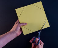 Cutting Corners Black Background Stock Photography