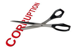 Cutting corruption, isolated Stock Photos