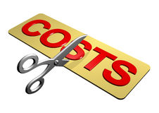 Cutting Costs. A pair of scissors cutting through the word Costs Royalty Free Stock Photo