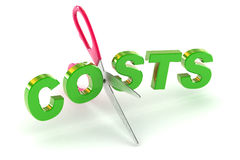 Cutting Costs. A Colourful 3d Rendered Cutting Costs Concept Illustration Royalty Free Stock Photos