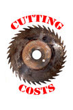 Cutting costs. Saw isolated poster Royalty Free Stock Images