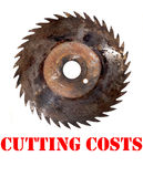 Cutting costs. Saw isolated poster Royalty Free Stock Photo