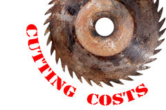 Cutting costs. Saw isolated poster Stock Photography