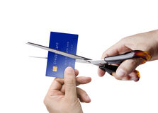 Cutting the credit card Stock Image
